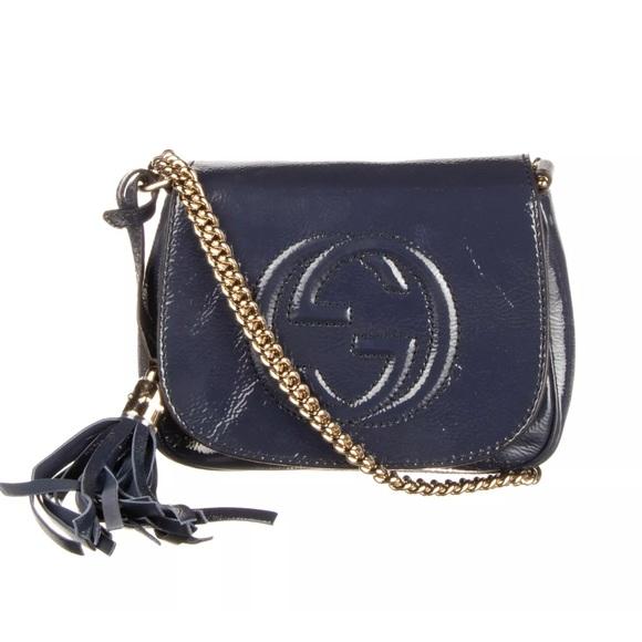 Gucci Handbags - GUCCI Navy Blue Soho Chain Shoulder Bag
